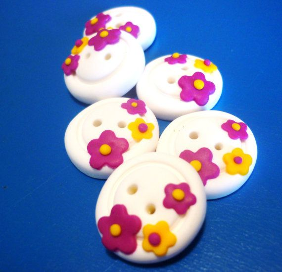 Flower shaped buttonsRound flower shaped button by JustFingerPrint, $8.00