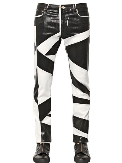 c16827113fcd35 VERSUS - 18CM TWO TONE COATED STRETCH DENIM JEANS - #menswear #men #fashion  #versus #versace #jeans