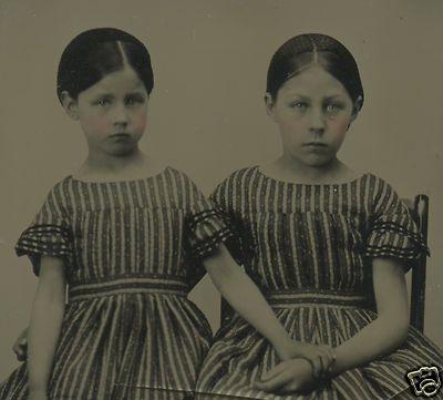 CIVIL WAR ERA AMBROTYPE FOLK ART TWIN DRESSES GIRLS HAIRNETS ANGELS OLD PHOTO   eBay