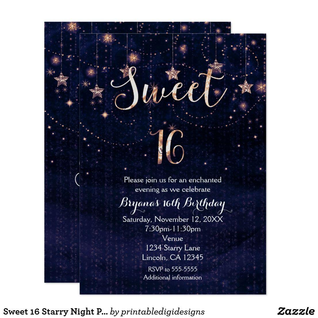 Sweet 16 Starry Night Purple & Gold Invitation | Gold invitations ...