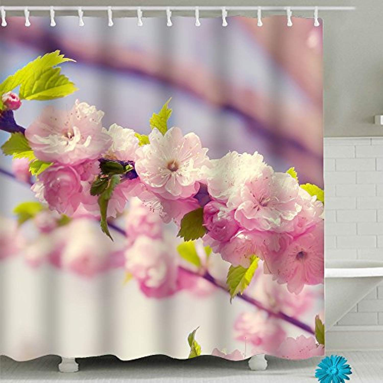 Pink Cherry Blossom Bathroom Shower Curtain Sets Waterproof Decor