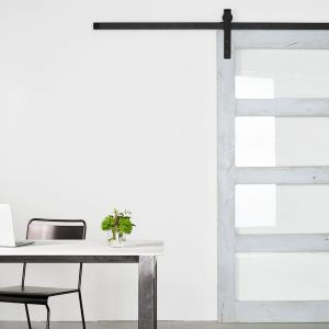 White Barn Door With Glass