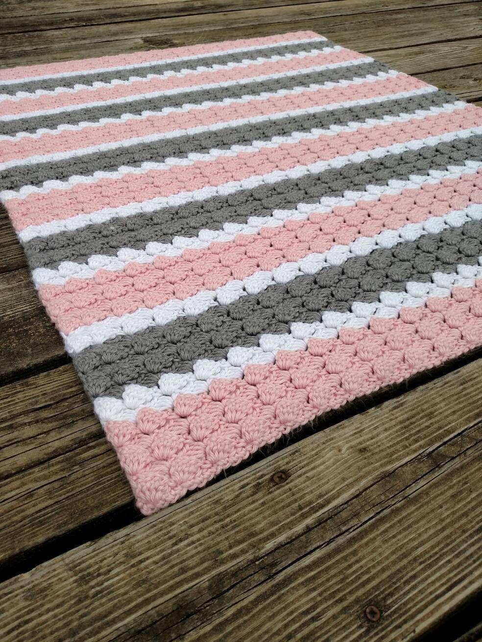Peluche rosa, gris y blanco a rayas de ganchillo a afgano ...