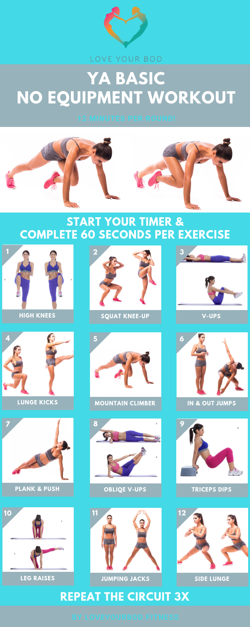 Full Body Home Workout - Ya Basic No Equipment   Body ...