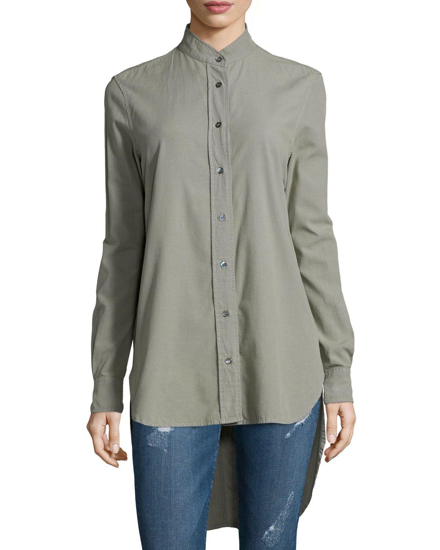 Le Tunic Cotton Shirt, Military - FRAME DENIM