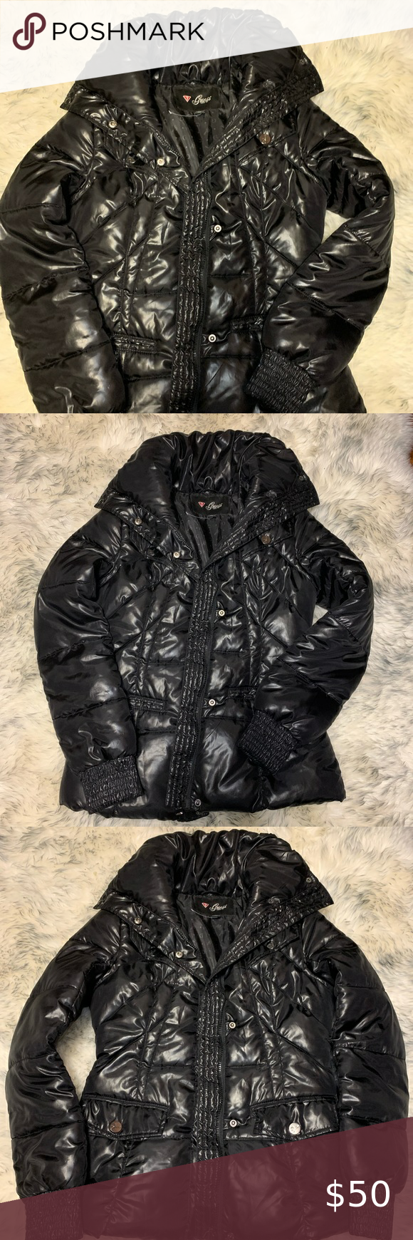Guess Black Puffer Coat Jacket Small Black Puffer Black Puffer Coat Puffer Coat [ 1740 x 580 Pixel ]