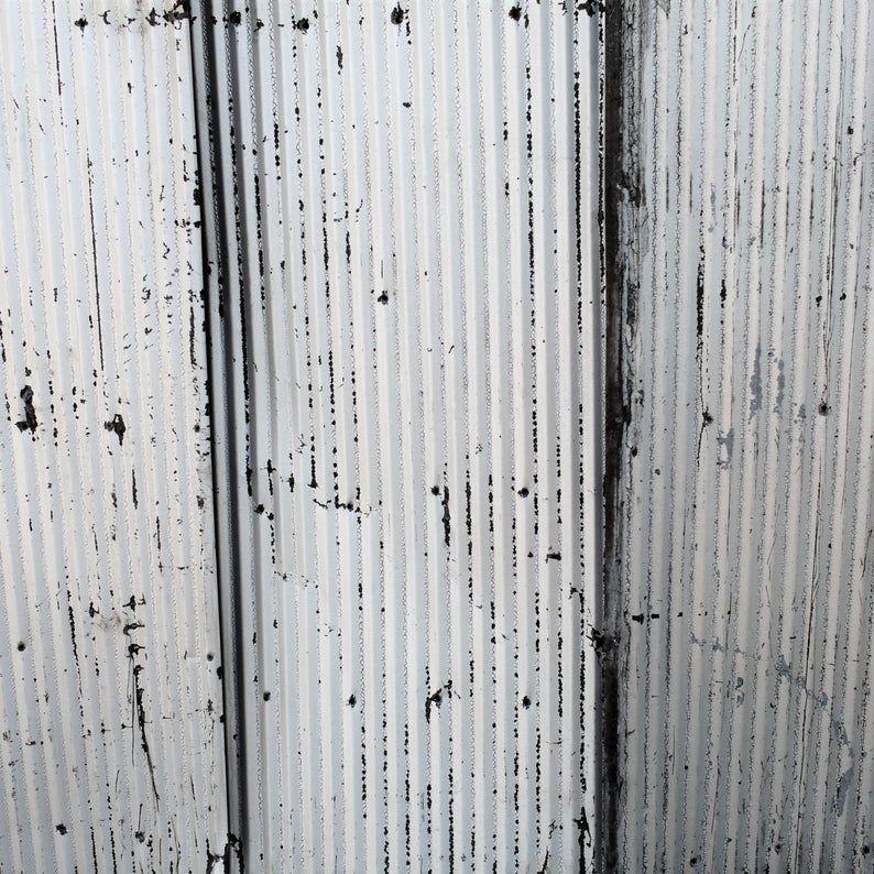Metal Roofing Barn Corrugated Weathered Silver Painted Tin Etsy Metal Roof Corrugated Metal Wall Barn Tin