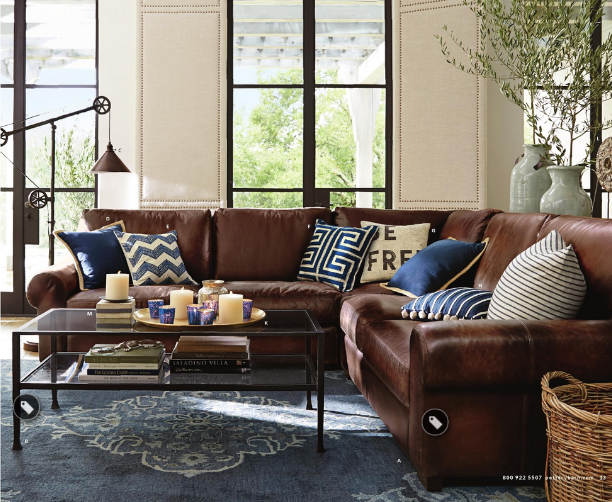 Brown Couch With Blue Accents Brown Living Room Decor Leather Couches Living Room Brown Couch Living Room