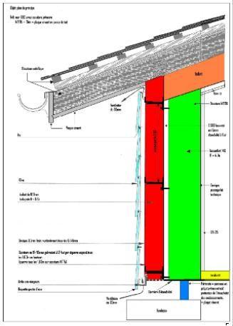 Coupe du0027un mur en ossature métallique, vue de lu0027isolation extérieure - plan maison structure metallique