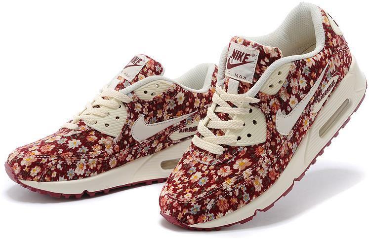 185897b23f6d Nike Air Max 90 Floral Print Womens Peony Training Shoes0