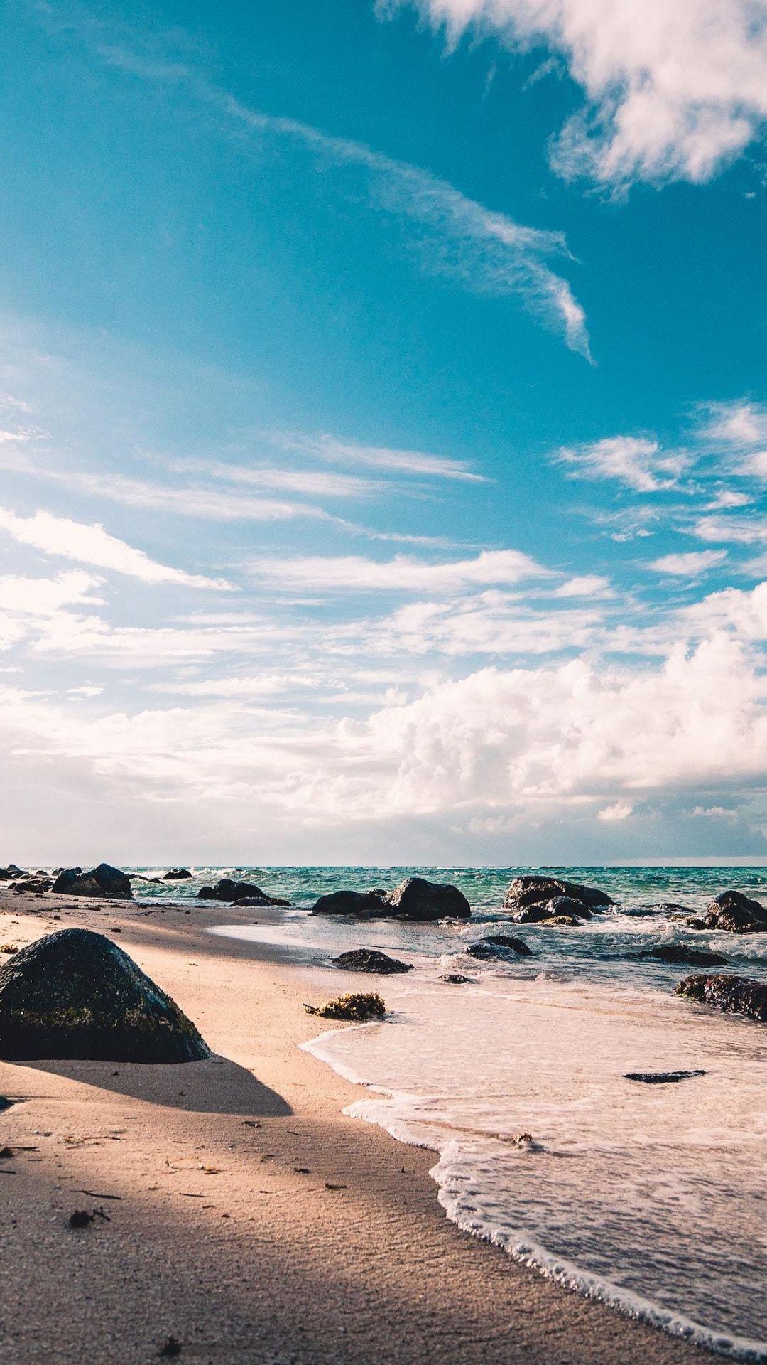 Beach Rocks Sunny Day Nature 1080x1920 Wallpaper In 2019
