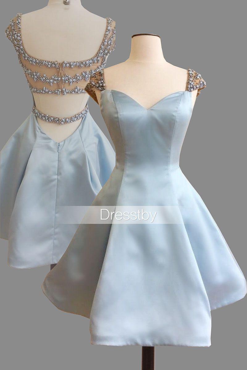 Cute sweetheart light blue short prom dress, cute homecoming dress ...