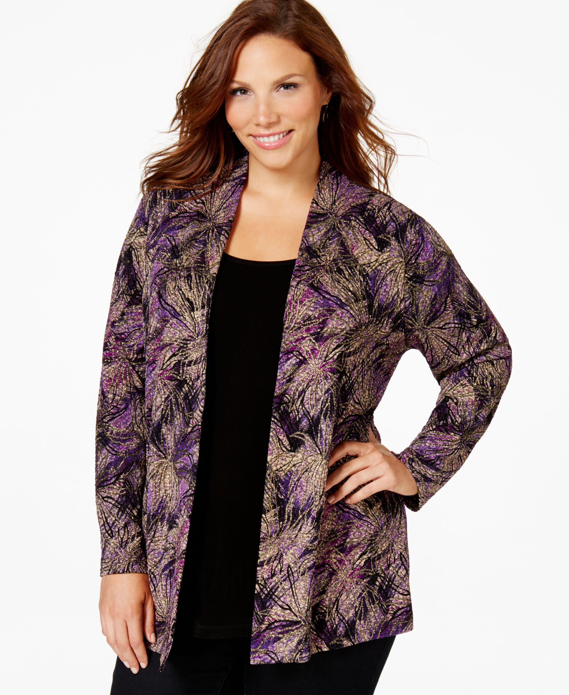 Jm Collection Plus Size Layered-Look Printed Top, Only at Macy's
