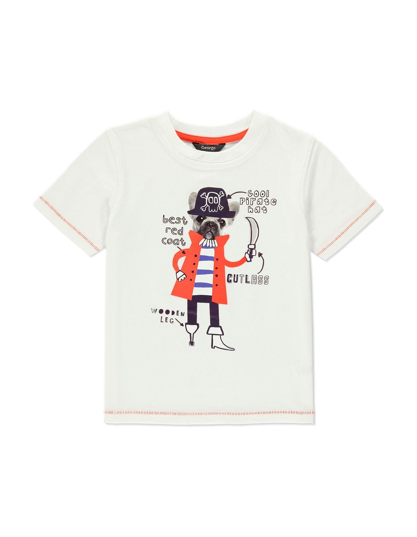 Black t shirt asda - Babies Pirate Dog T Shirt