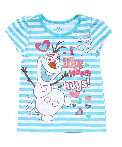 9ad19218 Disney Girls' Frozen Anna and Elsa T-Shirt. Disney Girls' I Like Warm Hugs  Short Sleeve ...