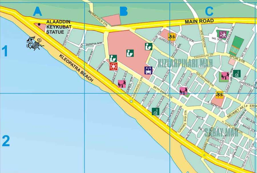 Kort Over Alanya I Tyrkiet Delkort Nr 1 Alanya