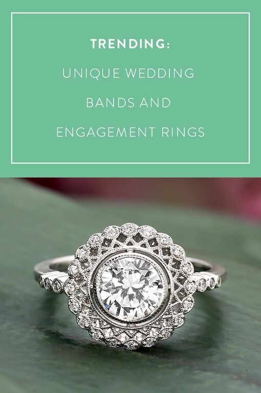 unique engagement rings and wedding bands with distinctive touches are trending this year