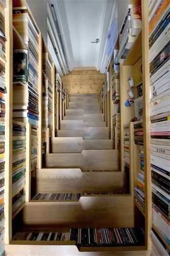 "A  book-lined staircase via ""libraries: magical places of fantasy"" on delicious  (http://www.delicious.com/stacks/view/ReJhVg#)"