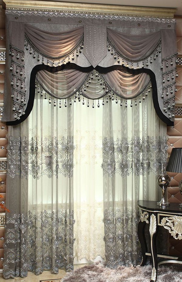 New Luxury And Gorgeous Embroidery Sheer Curtain Blinds Drapes For Sitting Room And Living Room