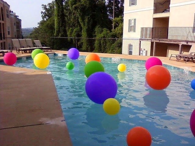 Throwing Balloons In The Pool Is A Great Idea For Party Some