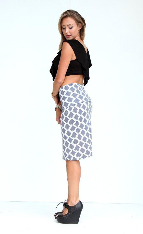Quatrefoil Print Fold Over Pencil Skirt