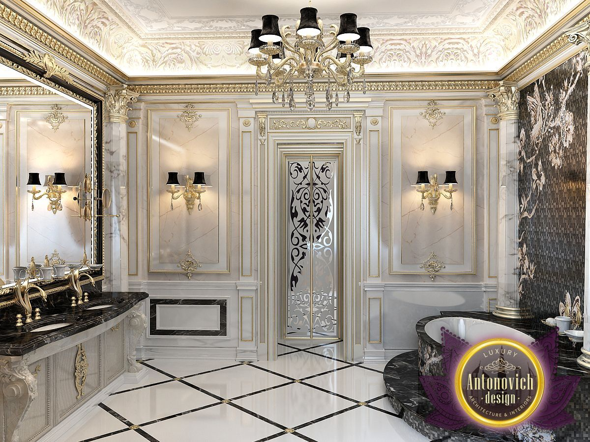 The bathroom luxurious interior in a classic style from the luxury antonovich design with a Bathroom design jobs dubai