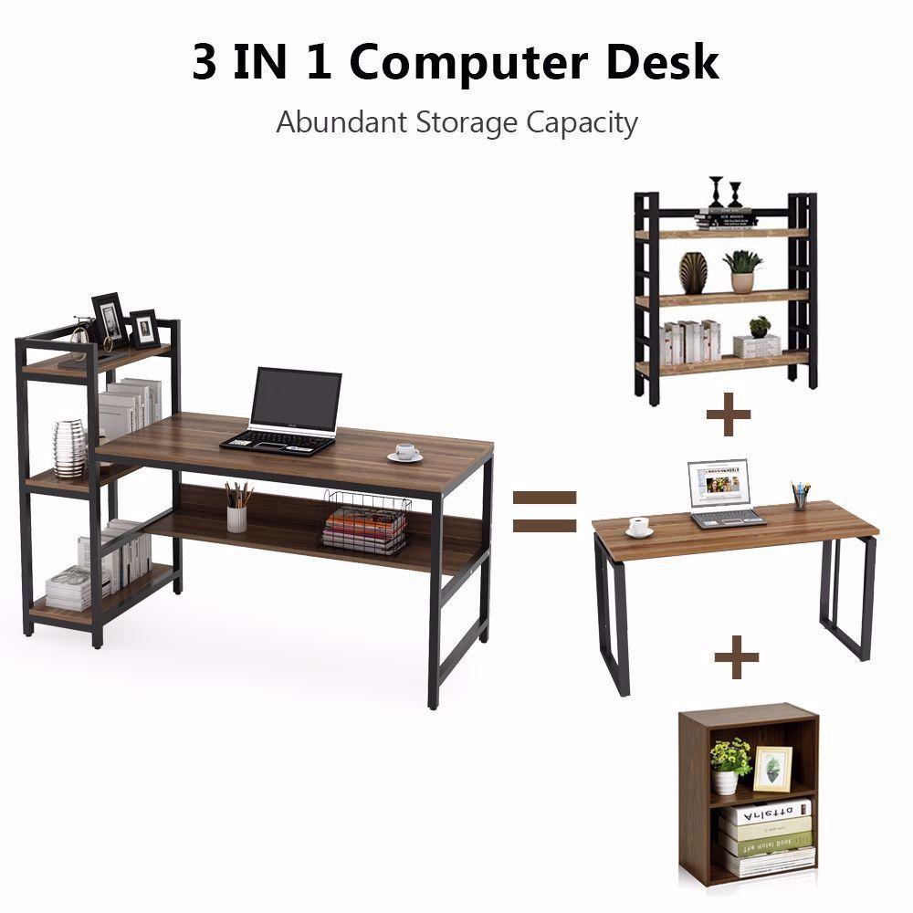Office Desk Computer Table With 4 Tier Storage Shelves Desain Desain Kamar