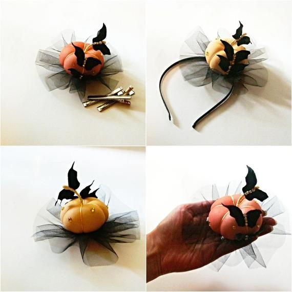 Pumpkin decor, black bat - Halloween decorations Hair clip is a