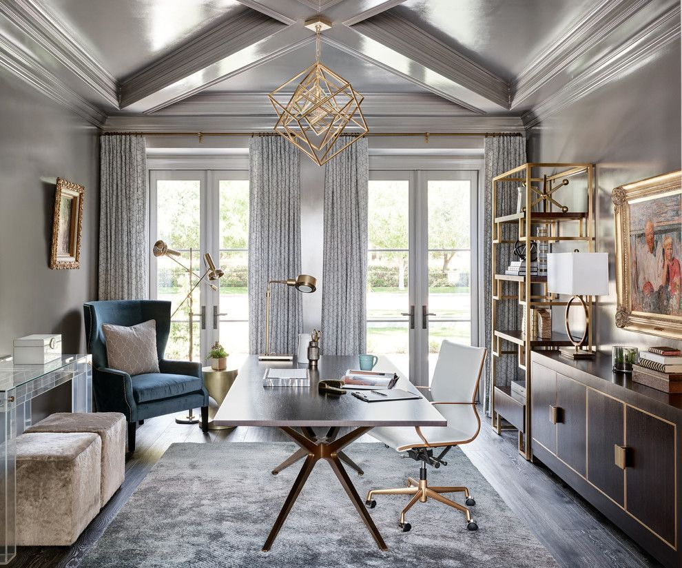 Find A Style And Decor Lead For The House To Make Every Of Your Rooms In The Usefully Pu In 2020 Gray Home Offices Traditional Home Offices Traditional Home Office
