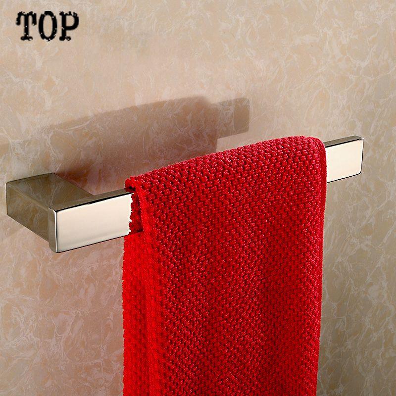 Stainless Steel 304 Square Towel Bar Hanging Towel Ring Square Towel Holde Bathroom Hardware Set Stainless Steel Bathroom Accessories Wall Mounted Towel Holder