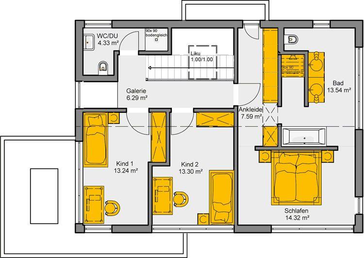 Wohnideen Raumaufteilung puristische wohnidee akzento 155 grundriss og haus grundrisse