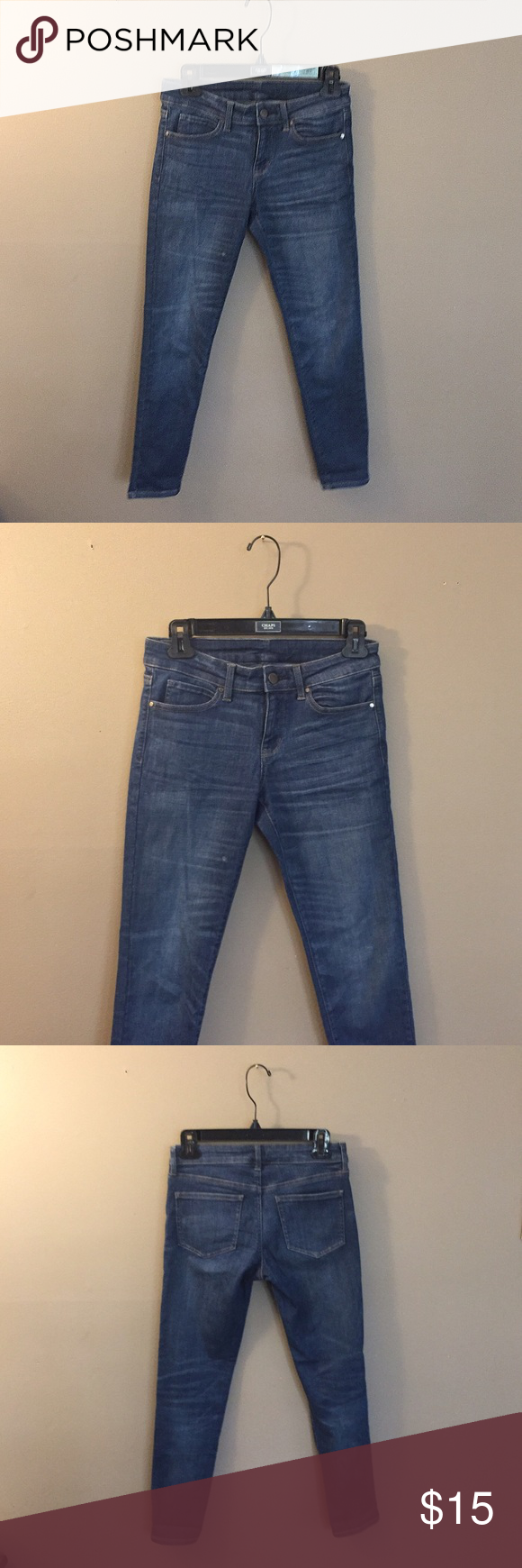 """[uniqlo] stretchy denim uniqlo stretchy dark denim pants (not jcrew) 