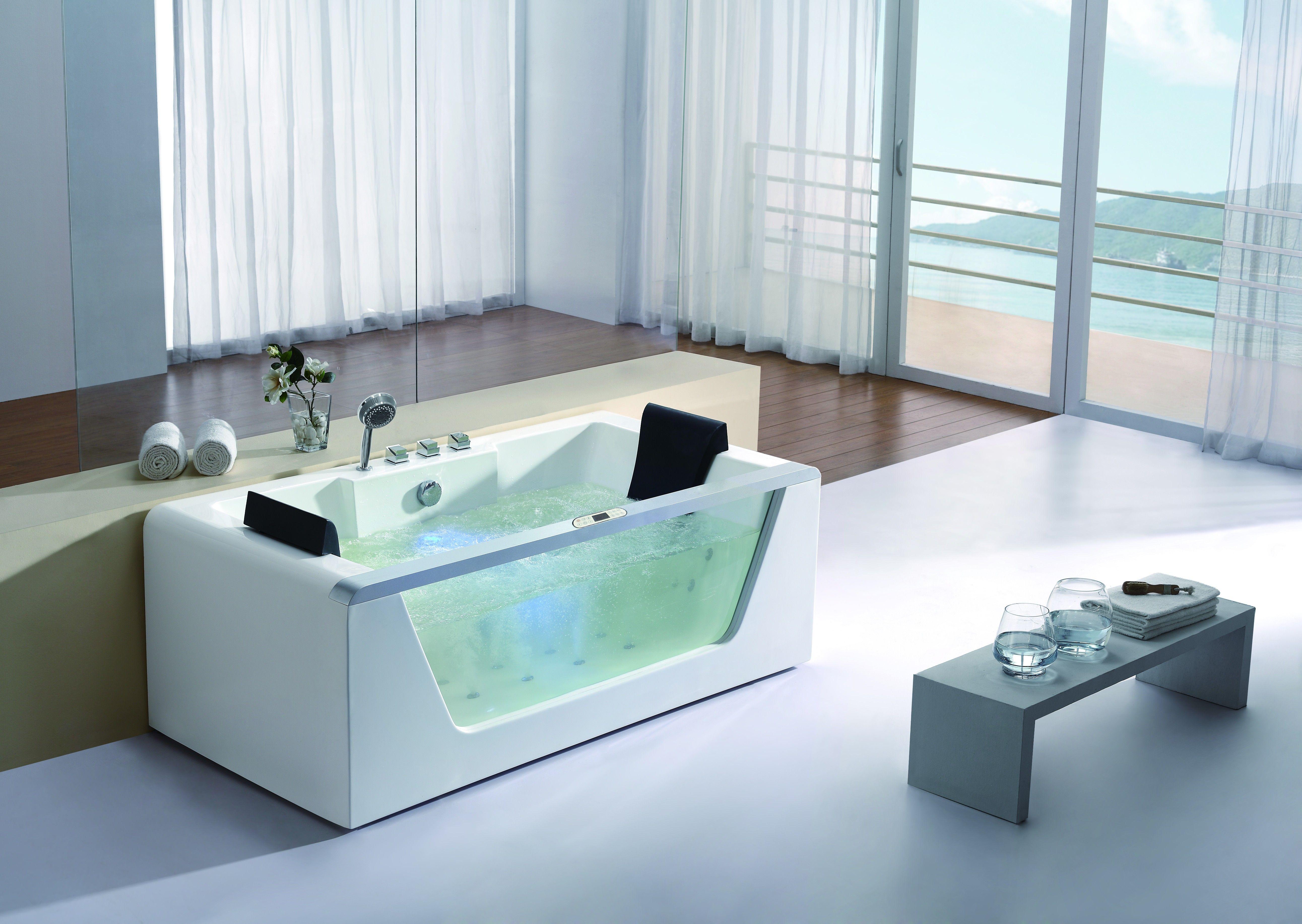 Eago Am196ho 6 Clear Rectangular Whirlpool Bath Tub With Inline