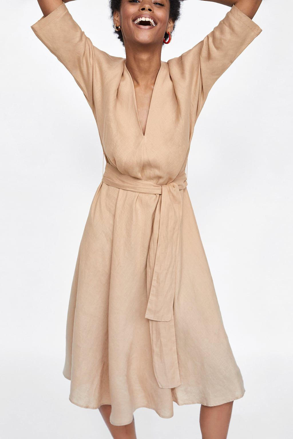 920fca865c55 Image 2 of LINEN DRESS WITH BELT from Zara