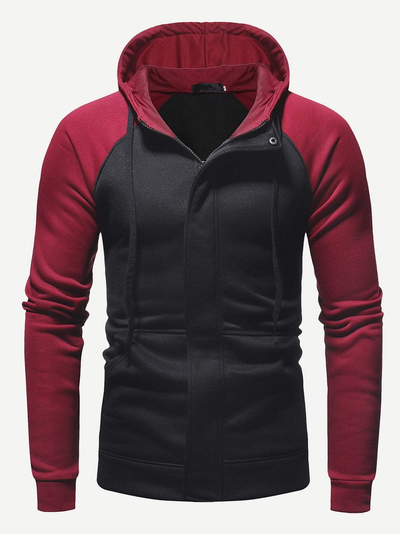 1180c75980d9 Men Color Block Raglan Sleeve Zip Up Hoodie in 2019 | Products ...