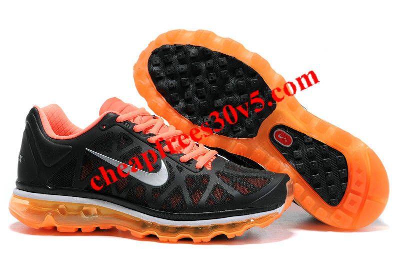 Mens Nike Air Max 2011 Black Orange Silver Sneakers