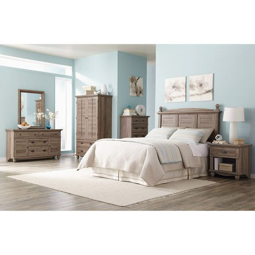 Sauder Harbor View 6 Piece Bedroom Set Salt Oak Furniture Walmart
