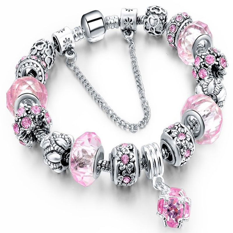 Trendy Crystal Silver Charm Braclet