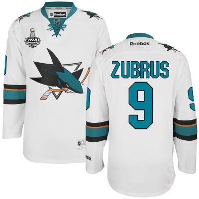 Men's San Jose Sharks #9 Dainius Zubrus White 2016 Stanley Cup Away NHL Finals Patch Jersey