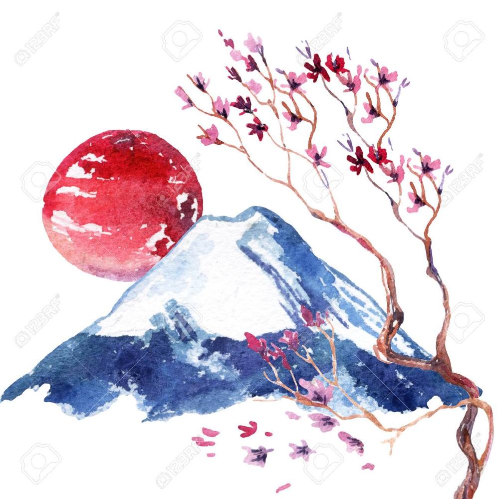 Aquarelle fleur de cerisier japonais. Fleurs de sakura peintes à la main sur fond de montagne Fuji. Banque d'images - 85205539