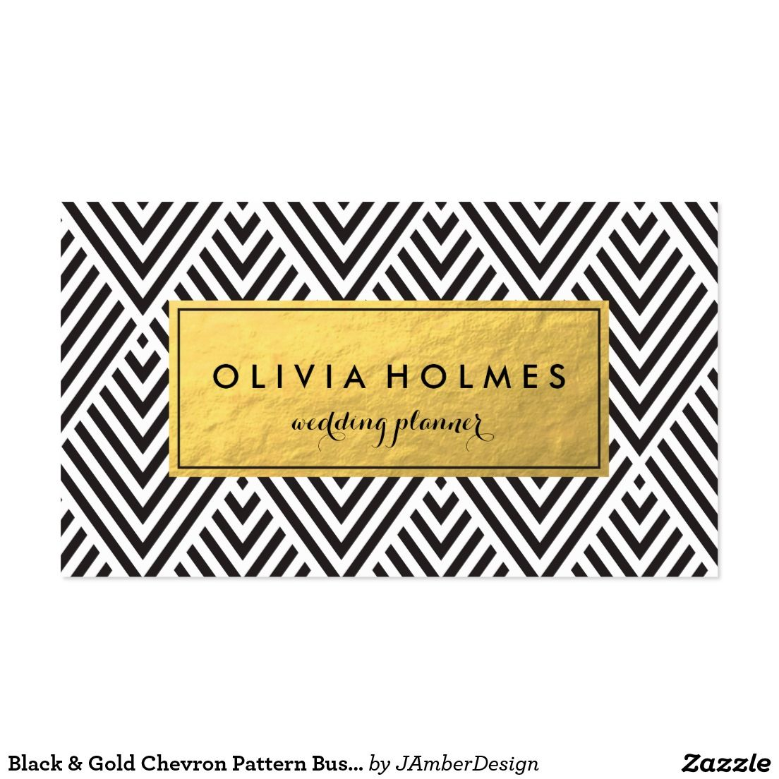 Black & Gold Chevron Pattern Business Card | △▽ Business Cards ...