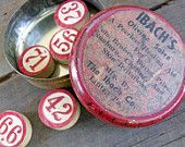 Vintage--salve tin and bingo numbers