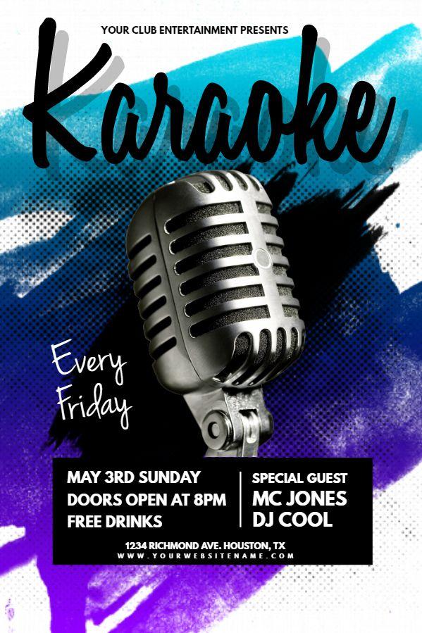 Karaoke Bar Flyer Design Click To Customize  Karaoke