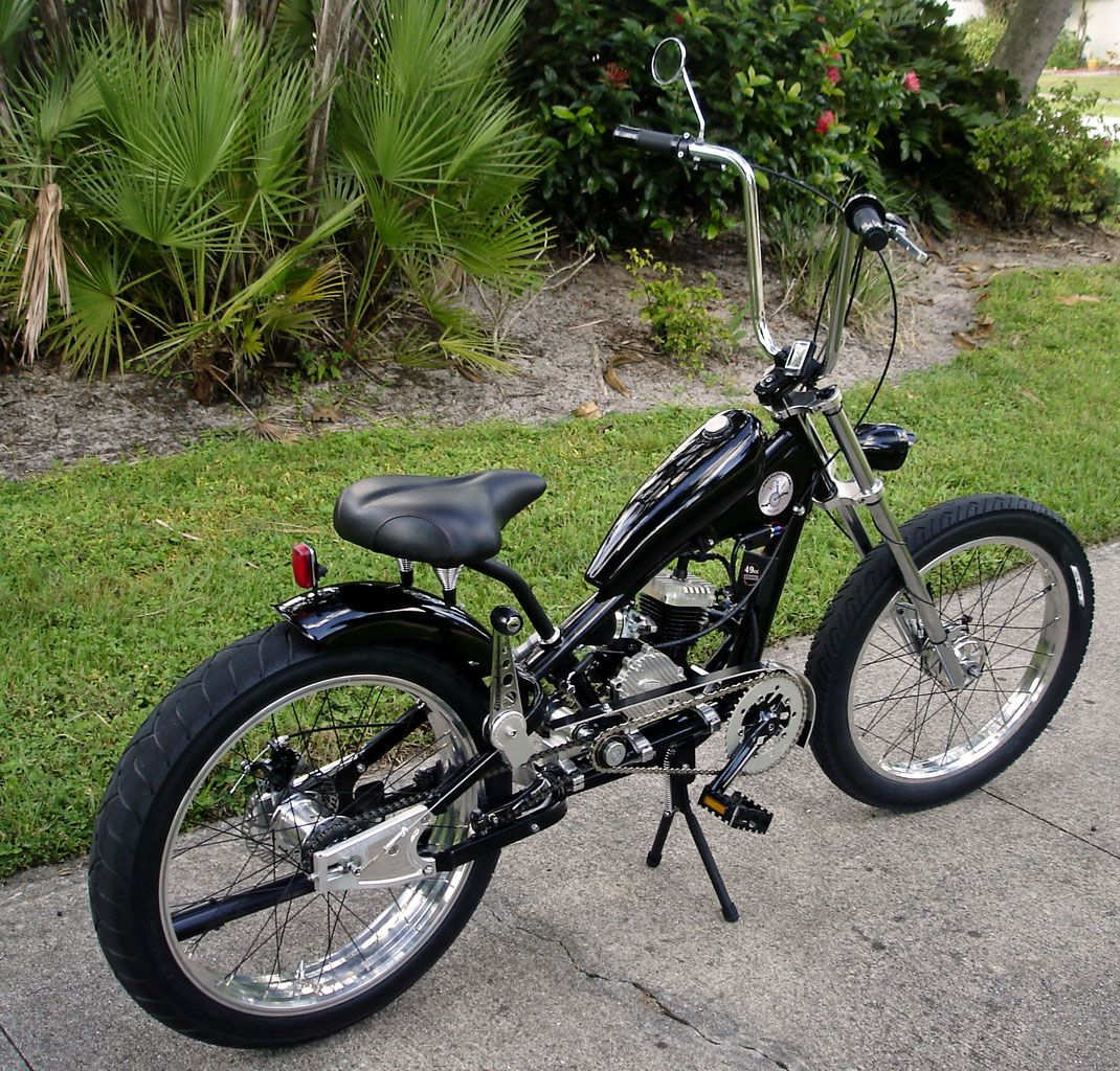 f2db151b80b See OCC Schwinn Stingray choppers we've motorized.Also rat rods & cruisers,  e-bikes or ones with gas and electric motors.