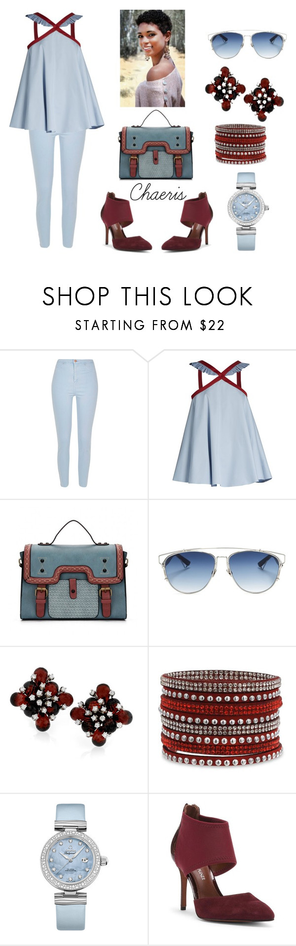 """Light Blue"" by chaeris ❤ liked on Polyvore featuring River Island, Anna October, Christian Dior, OMEGA and Donald J Pliner"