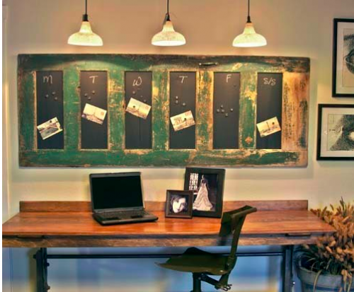 This is a fun idea of how to reuse an old door.  Apply magnetic chalkboard paint, turn horizontally, and hang on your wall as a weekly organizer.