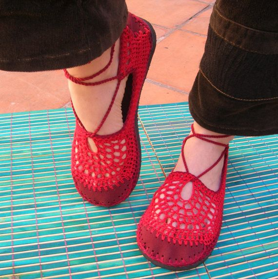 Pizzo a uncinetto SHOES Mary Jane Red w / di lepiedleger su Etsy