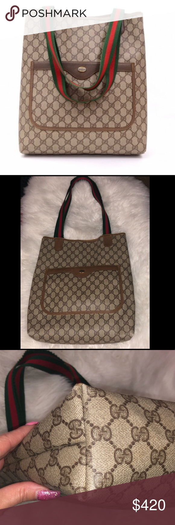 862c41fd61 Gucci Vintage Authentic Tote Bag Purse Authentic Vintage Gucci Brown GG PVC  Canvas and Leather Tote