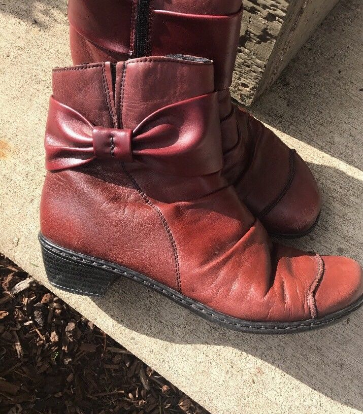 Rieker Red Soft Pleated Leather Bow Zip Ankle Boots Size