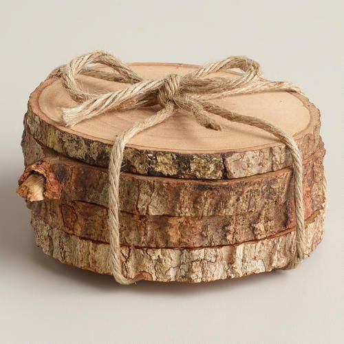 Wood Bark Coasters, Set of 4